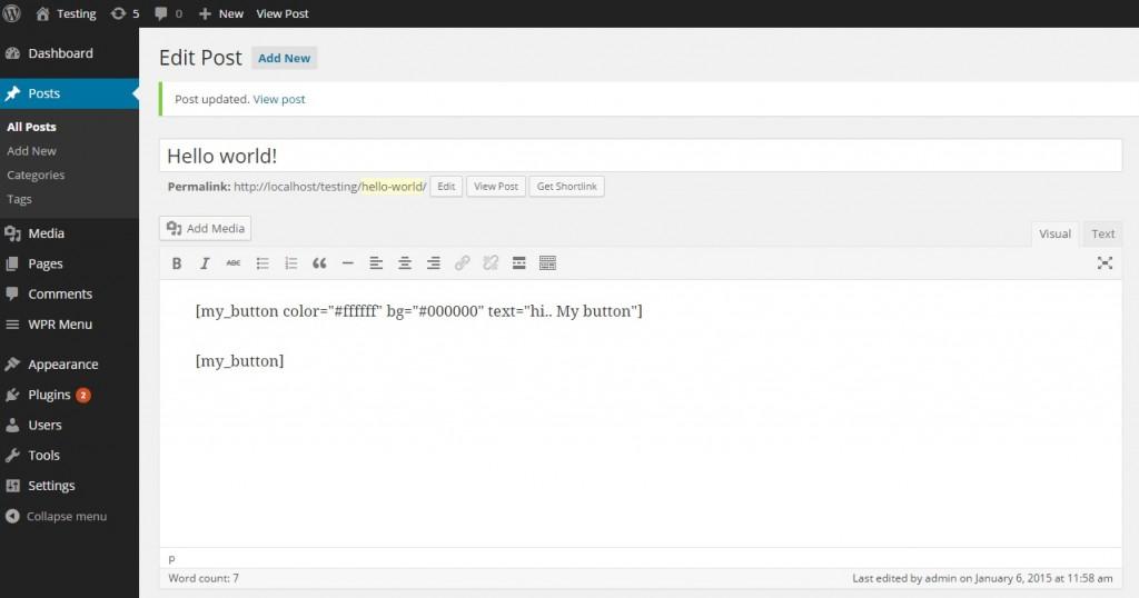 Create custom button using wordpress shortcodes