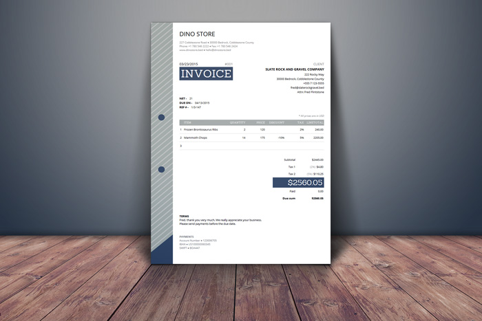 Free html invoice-template sample