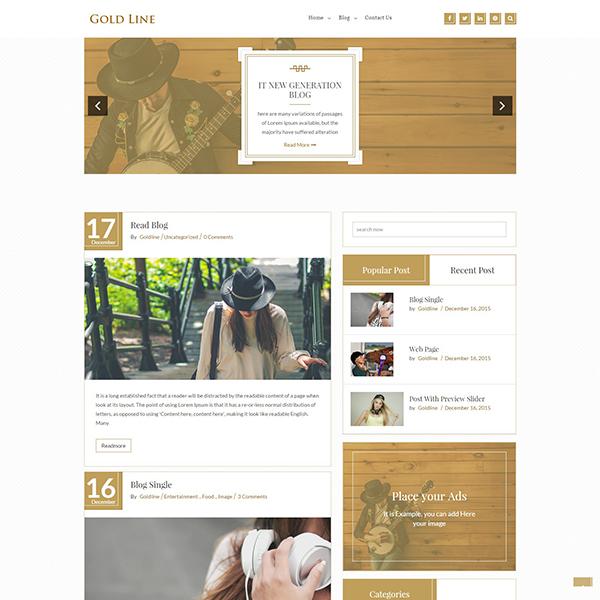 GoldLine Light Website Theme