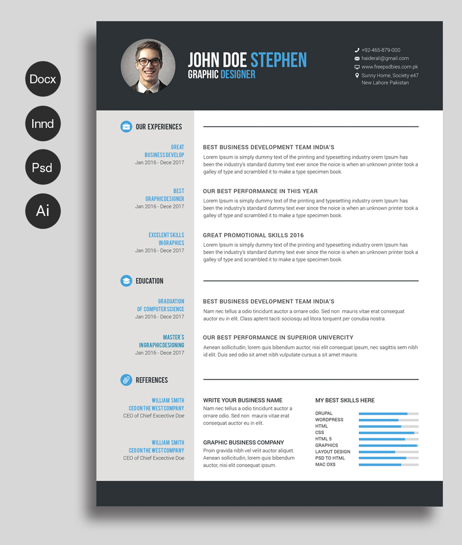 Freebie resume business card psd templates key highlights of these beautiful templates reheart Gallery