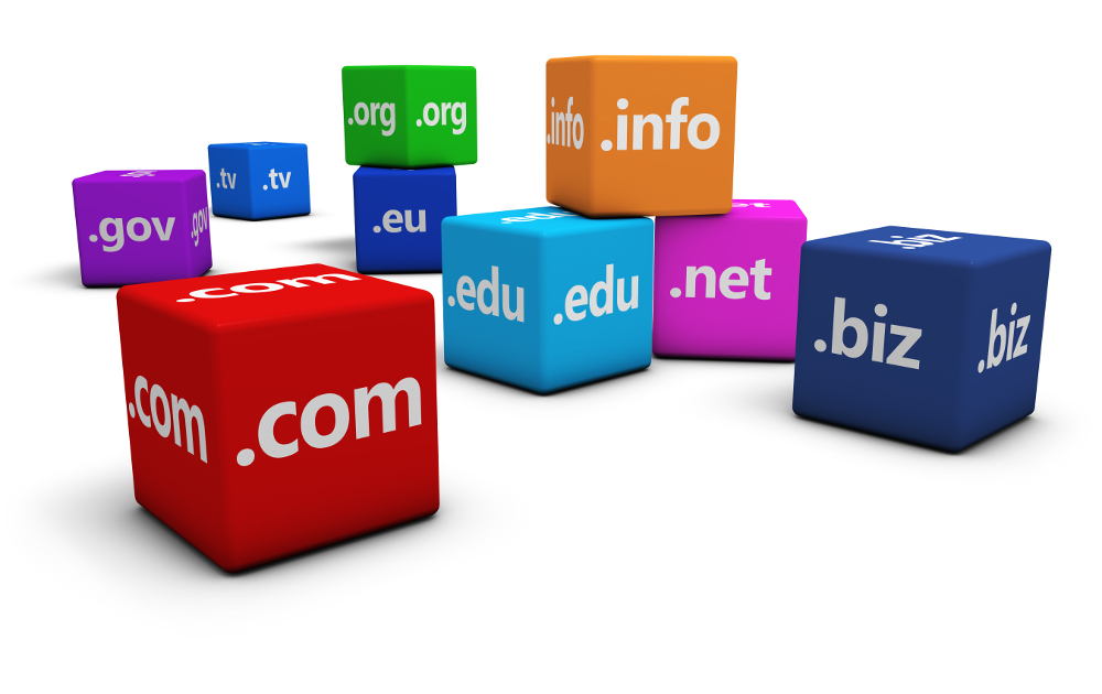 Website and Internet domain names concept with domains sign and text on colorful cubes isolated on white background.