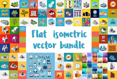 Flat Isometric Vector Graphic Designs Bundle