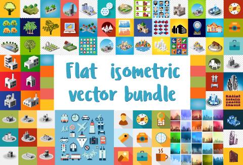 Flat Isometric Vector Graphic Designs Bundle