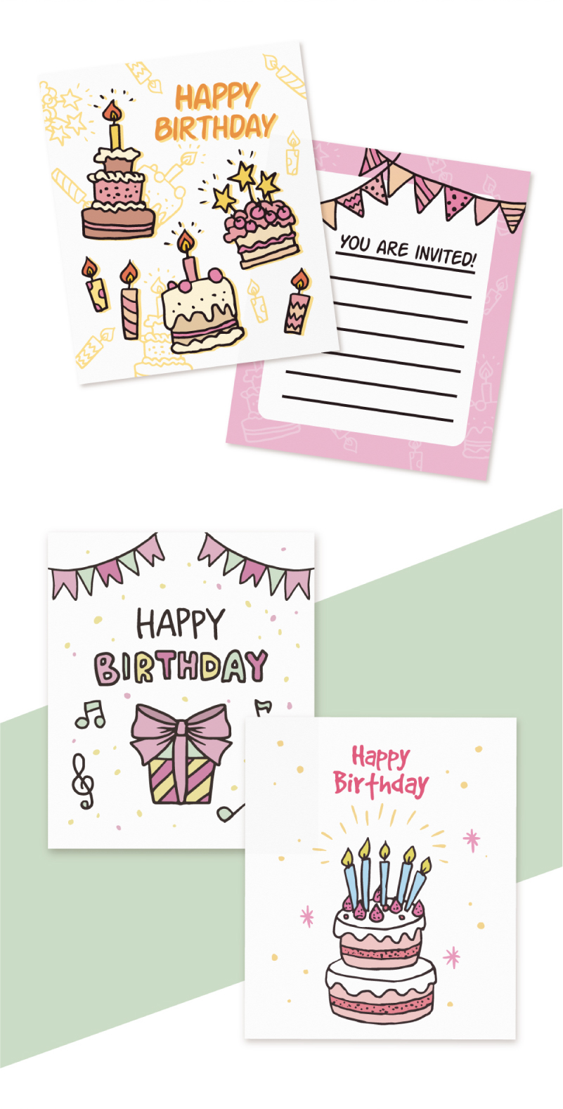 Hand-Drawn Birthday Cards Collection