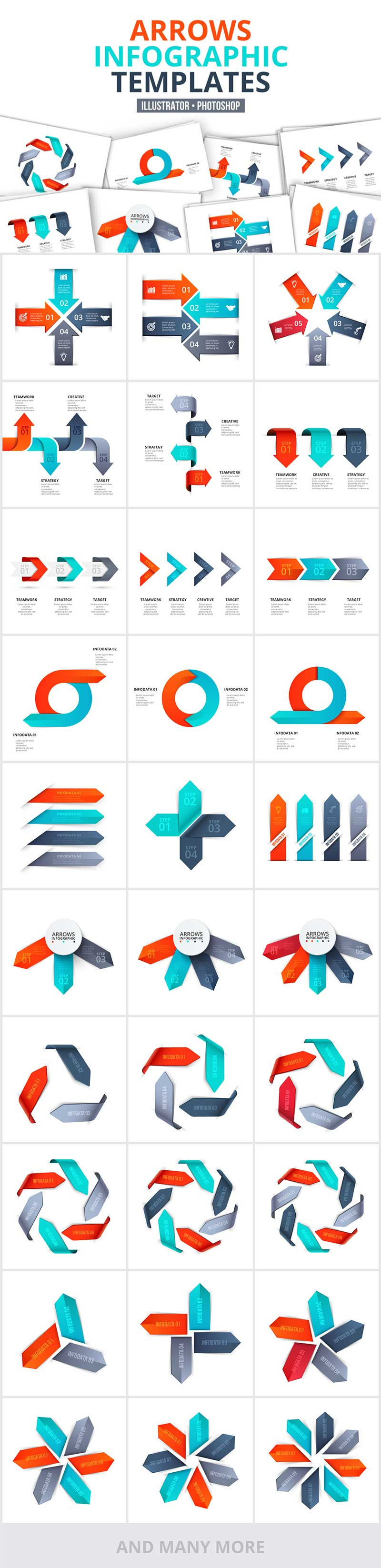 1200 Interactive Infographic Templates- 07_Arrows