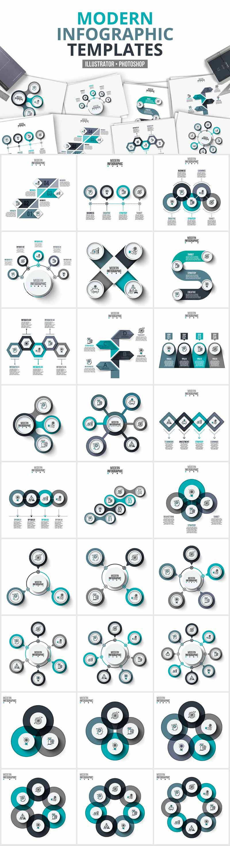 1200 Interactive Infographic Templates- 05_Modern