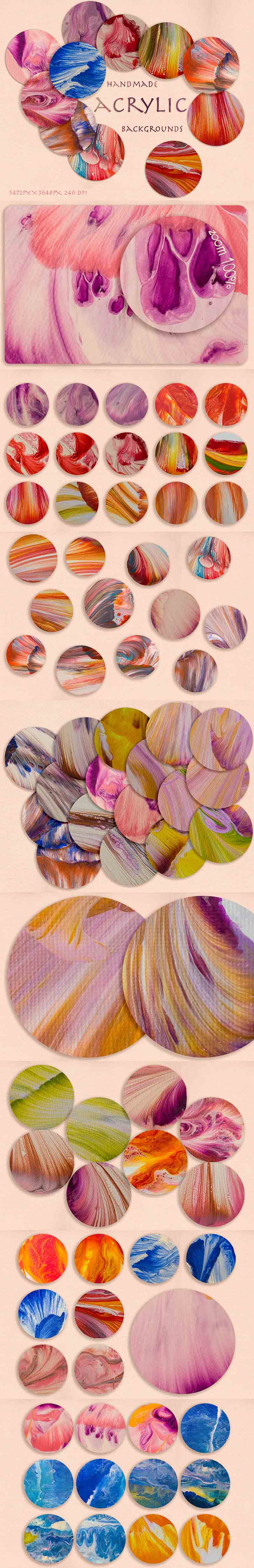 Splash Creative Bundle- 75 Handmade Acrylics Backgrounds