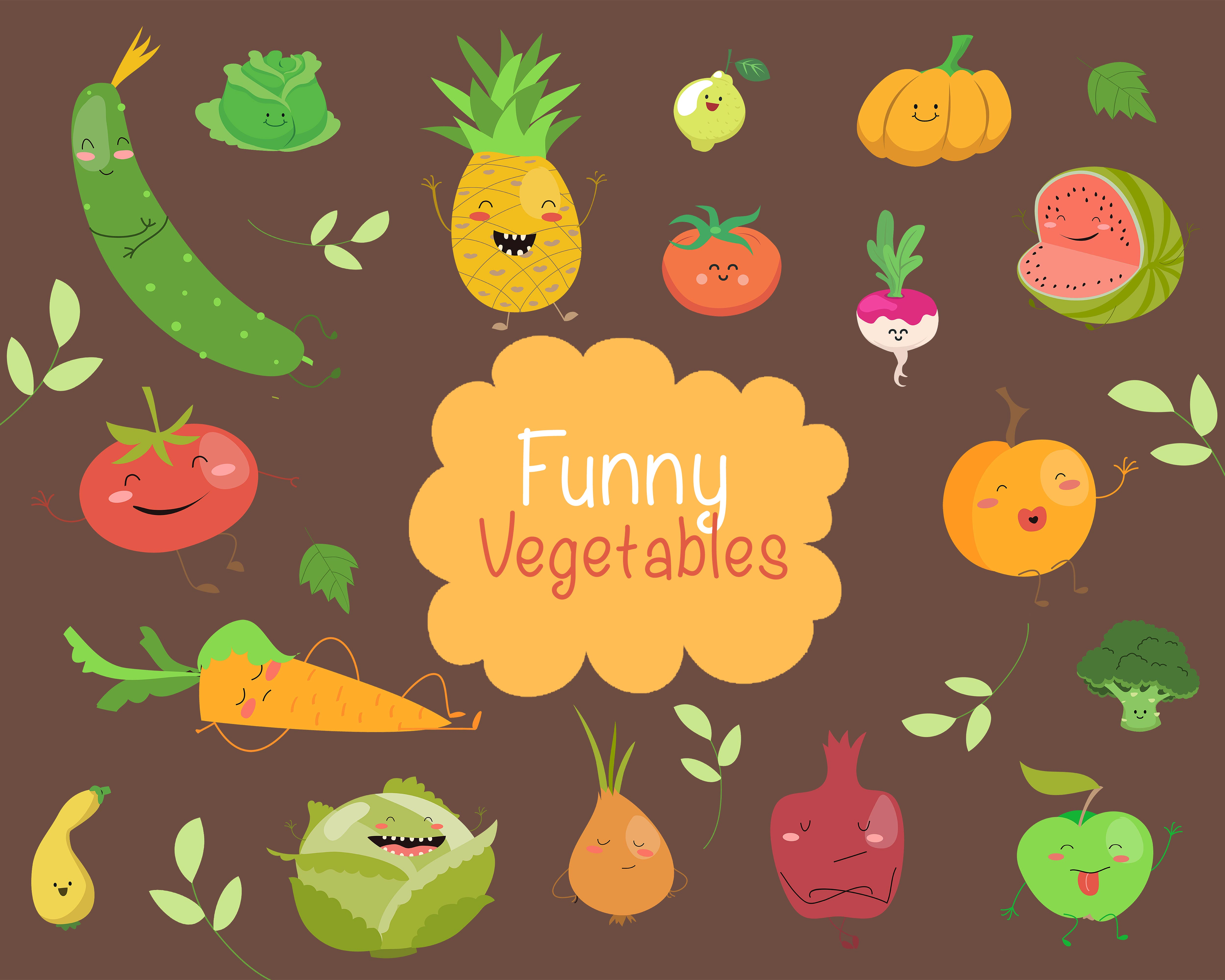 The Tiny Joy Kids Vector Bundle - Funny Vegetables