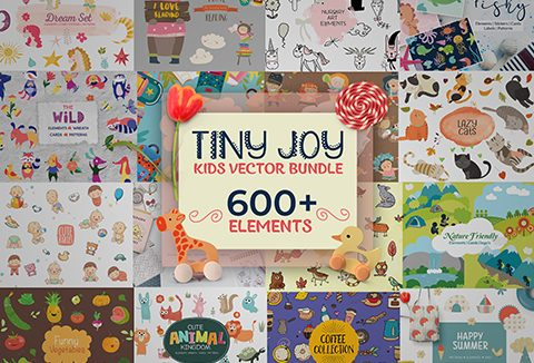 Tiny Joy Kids Vector Bundle Of 600+ Elements | DealClub Exclusive
