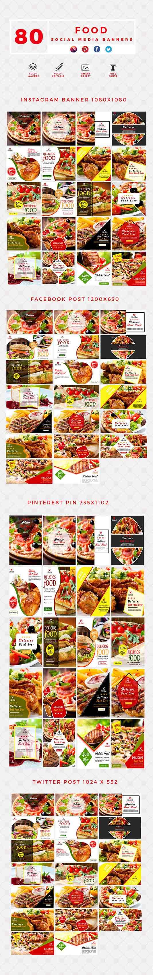 300+Social Media Banner Templates - Food