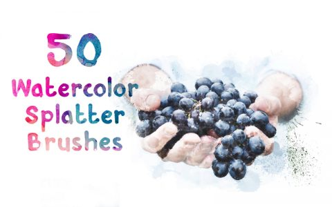 50 Watercolor Ink Splatter Brushes