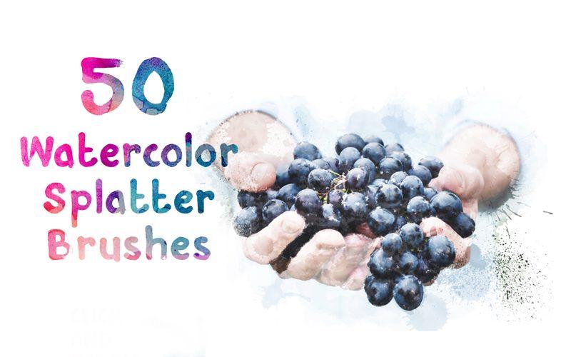 50 Watercolor Ink Splatter Brushes