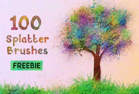 Freebie: 100 Splatter Brushes