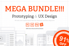 Prototyping & UX Design Mega Bundle Of 200+ Web & Mobile Layout Tiles