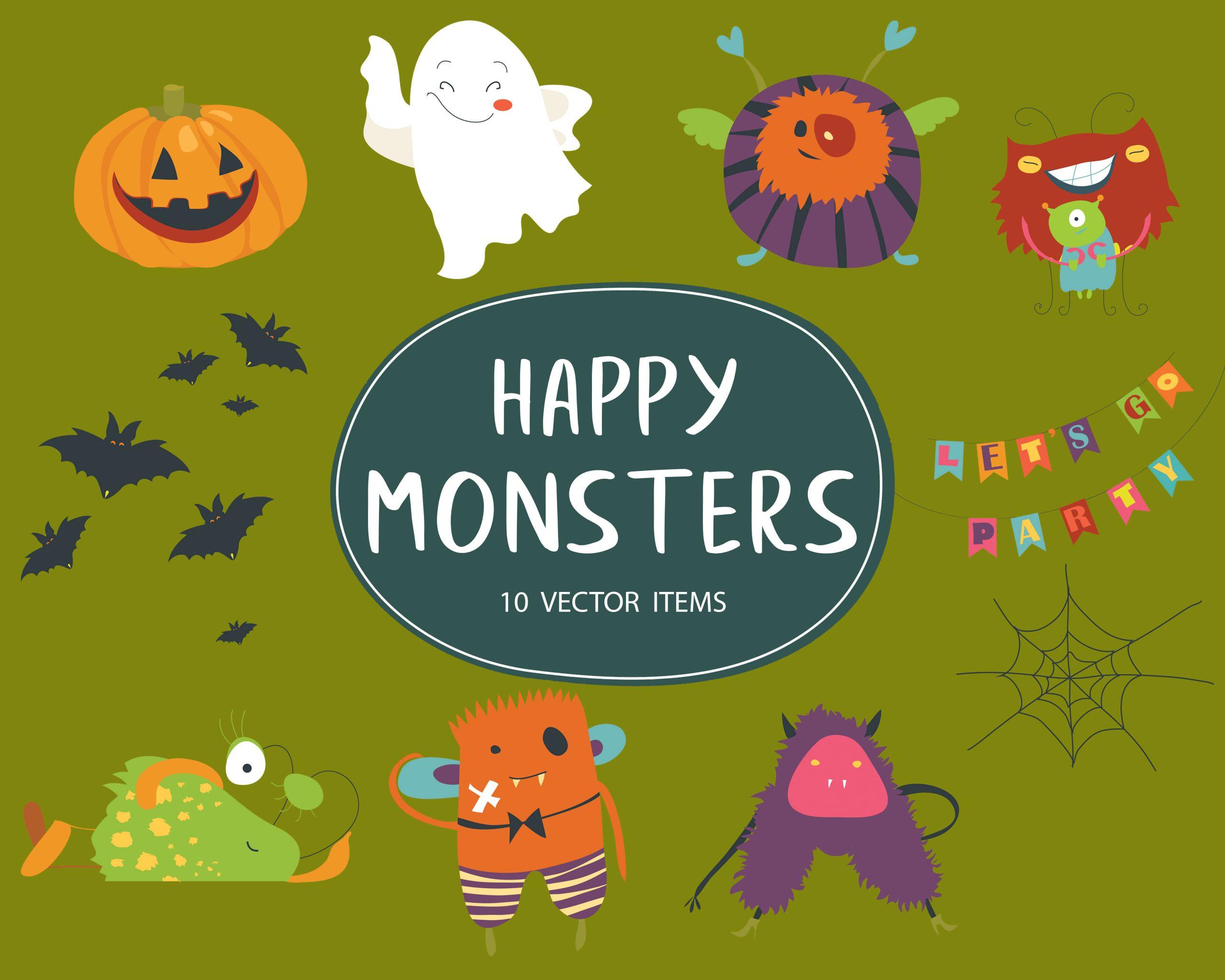 10 Happy Monsters Vector Items