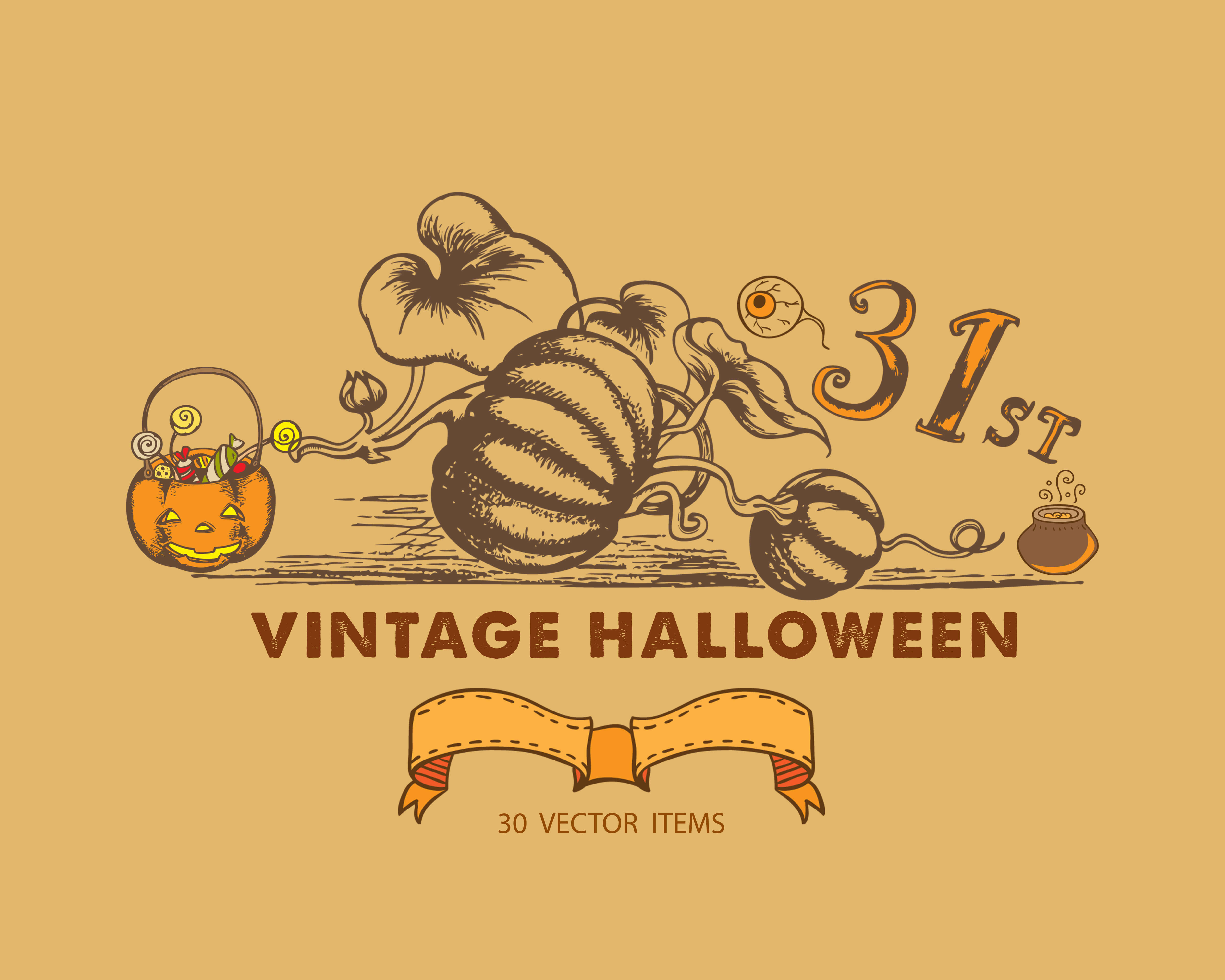 Spooky Vector Images - 30 Vintage Halloween