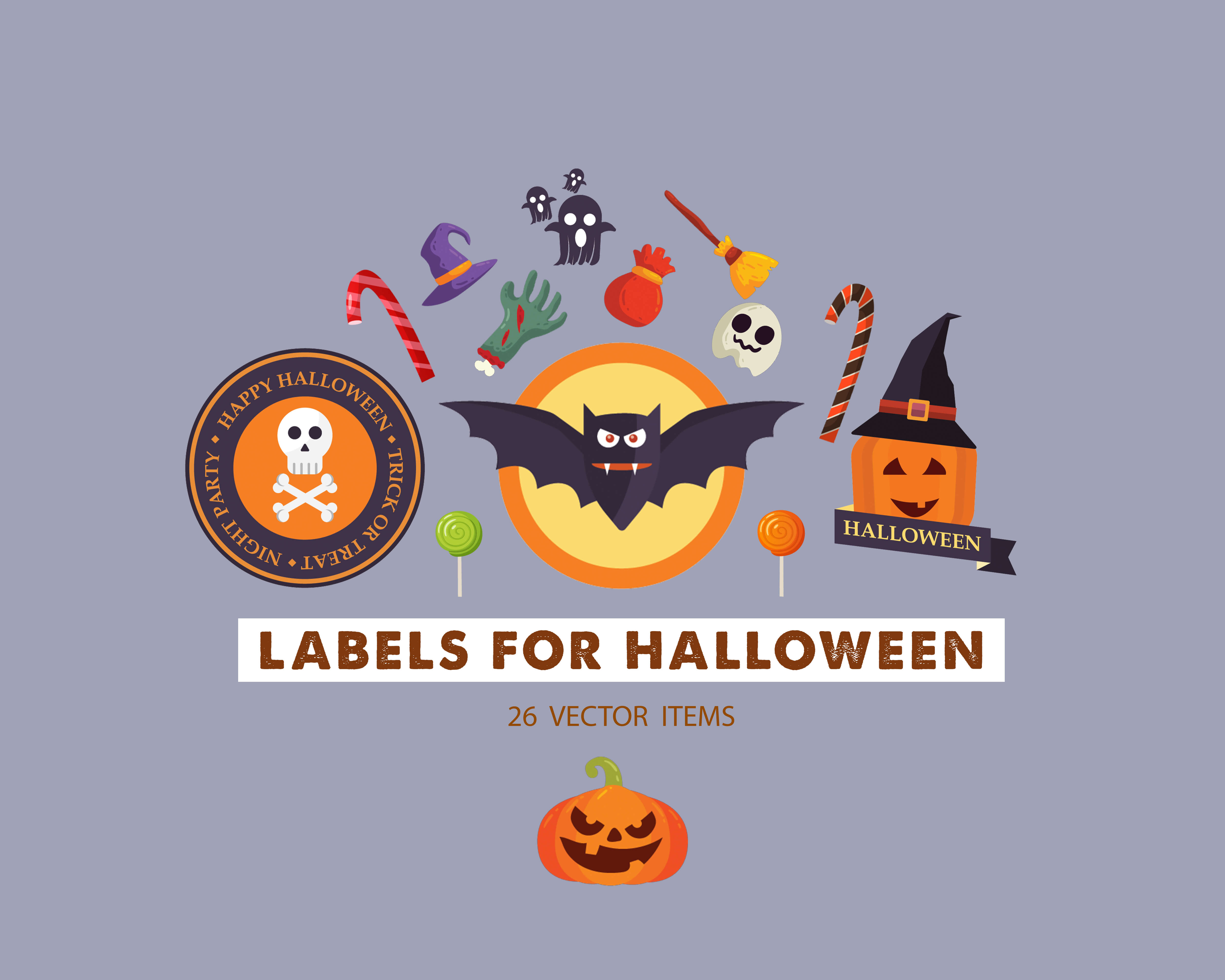 Spooky Vector Images - 26 Labels For Halloween