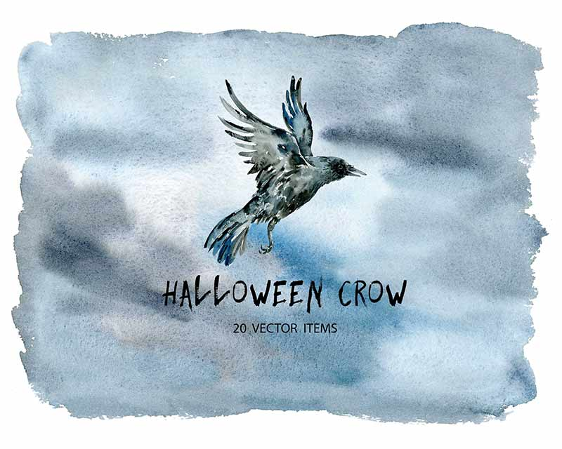 Spooky Vector Images - 20 Halloween Crow