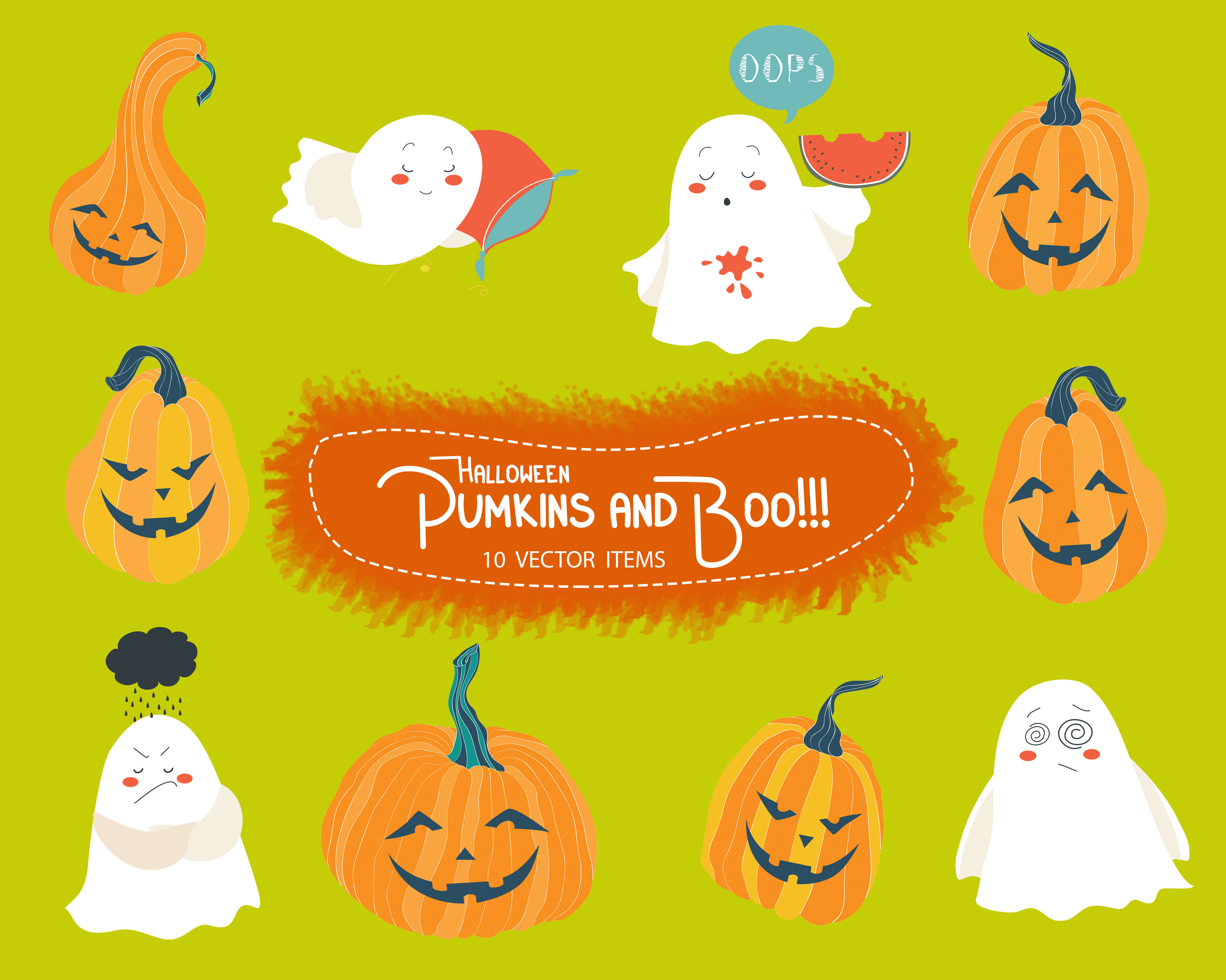 Spooky Vector Images - 10 Pumpkins & Boo