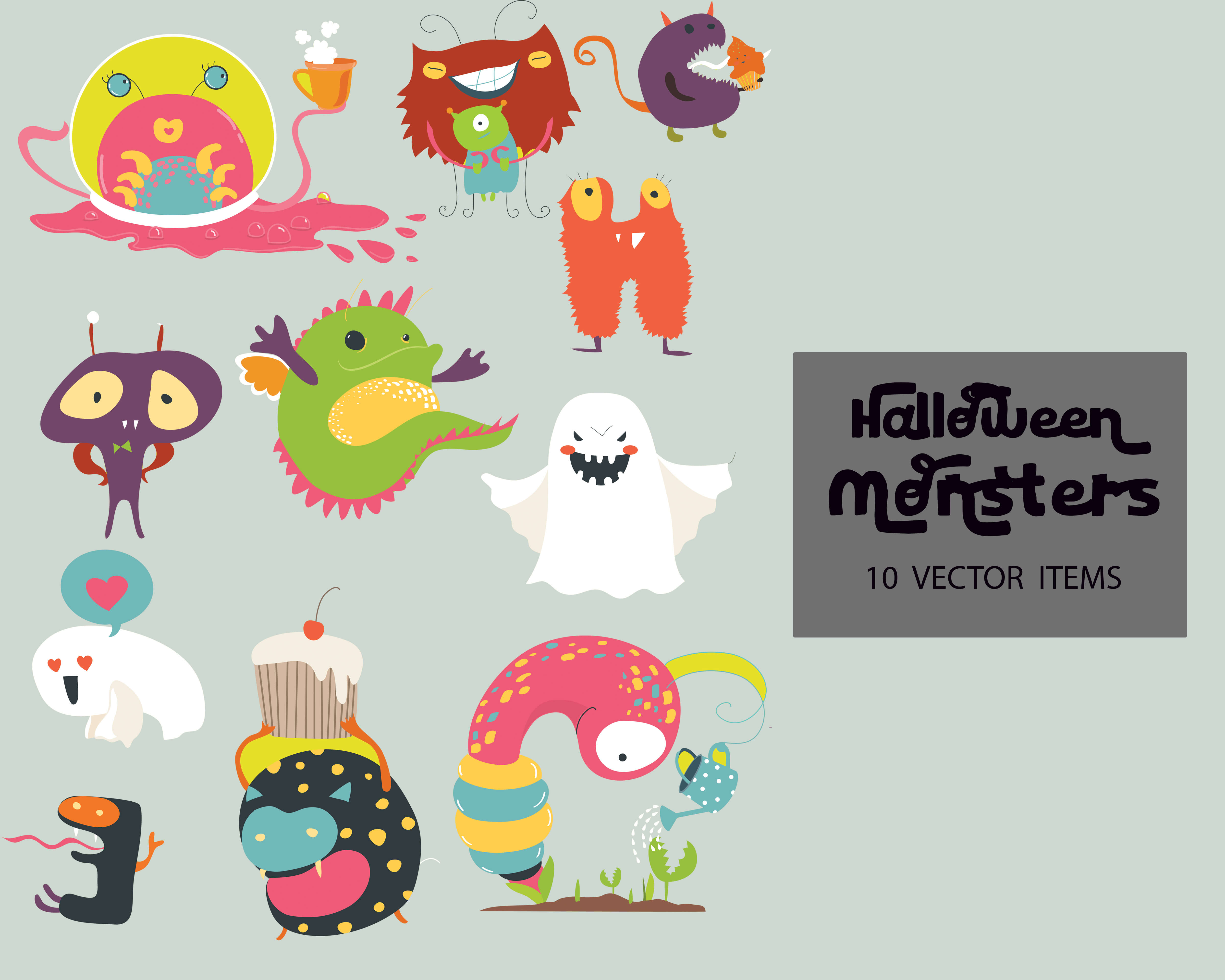 Spooky Vector Images - 10 Halloween Monsters
