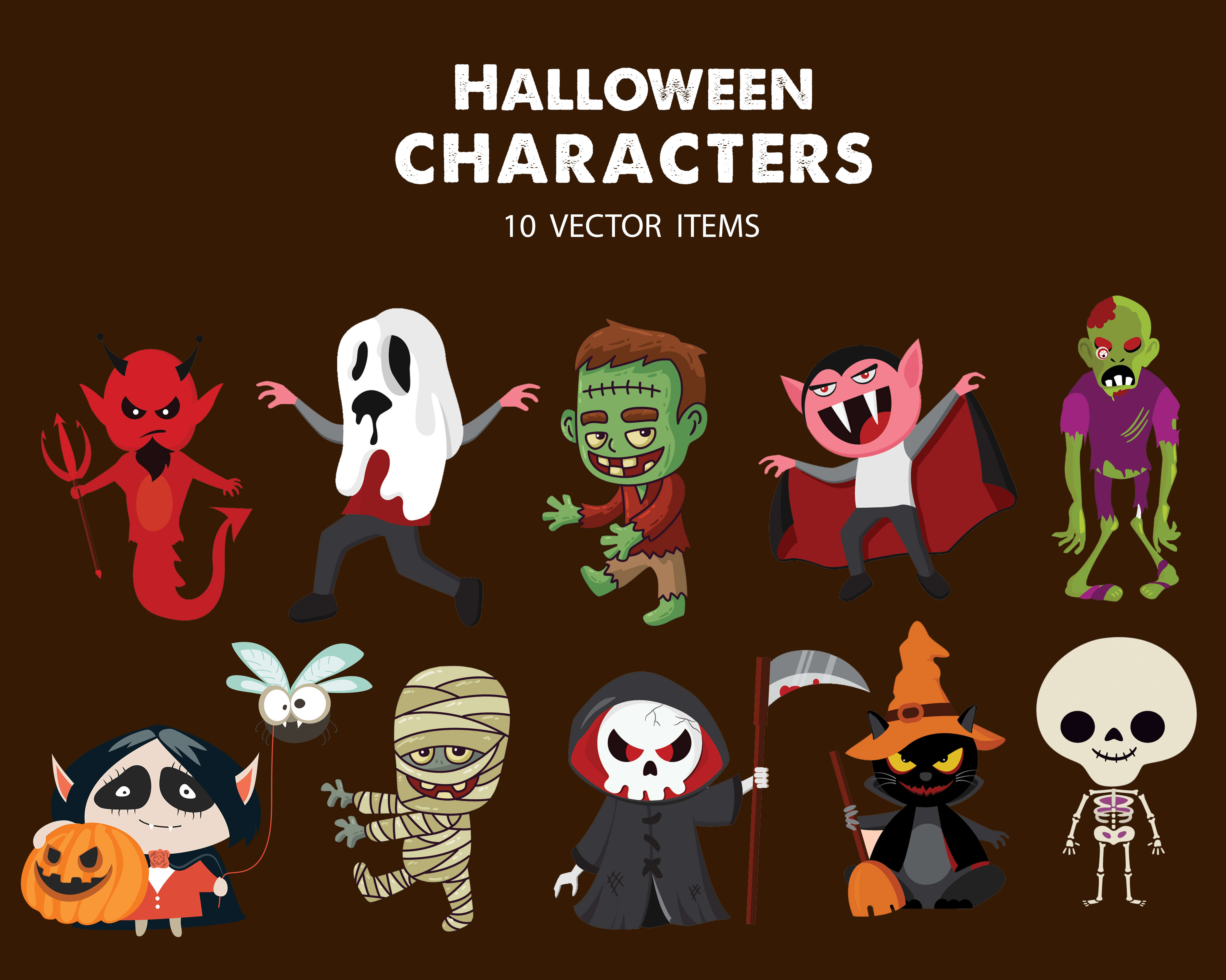 Spooky Vector Images - 10 Halloween Characters