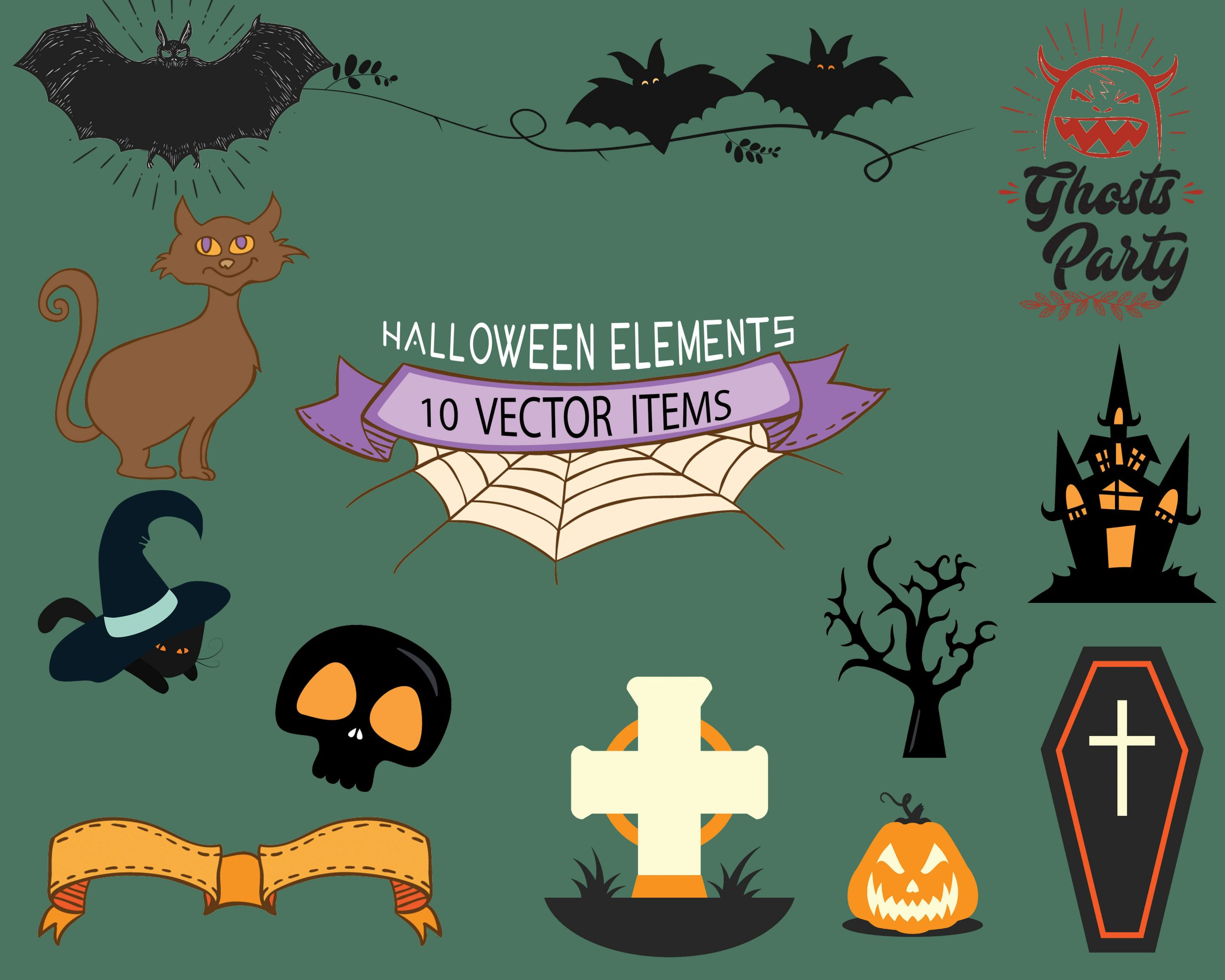 Spooky Vector Images - 10 Ghost Party Elements