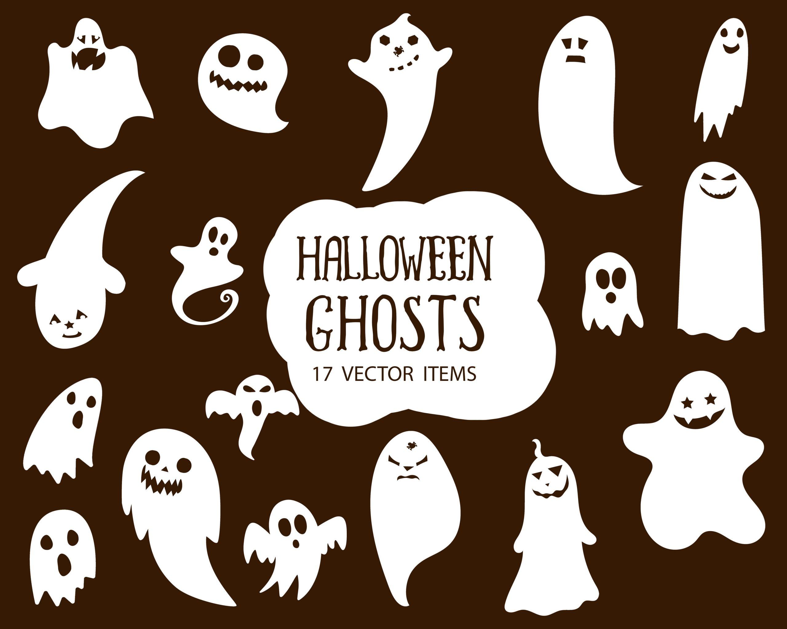 Spooky Vector Images - 17 Halloween Ghosts