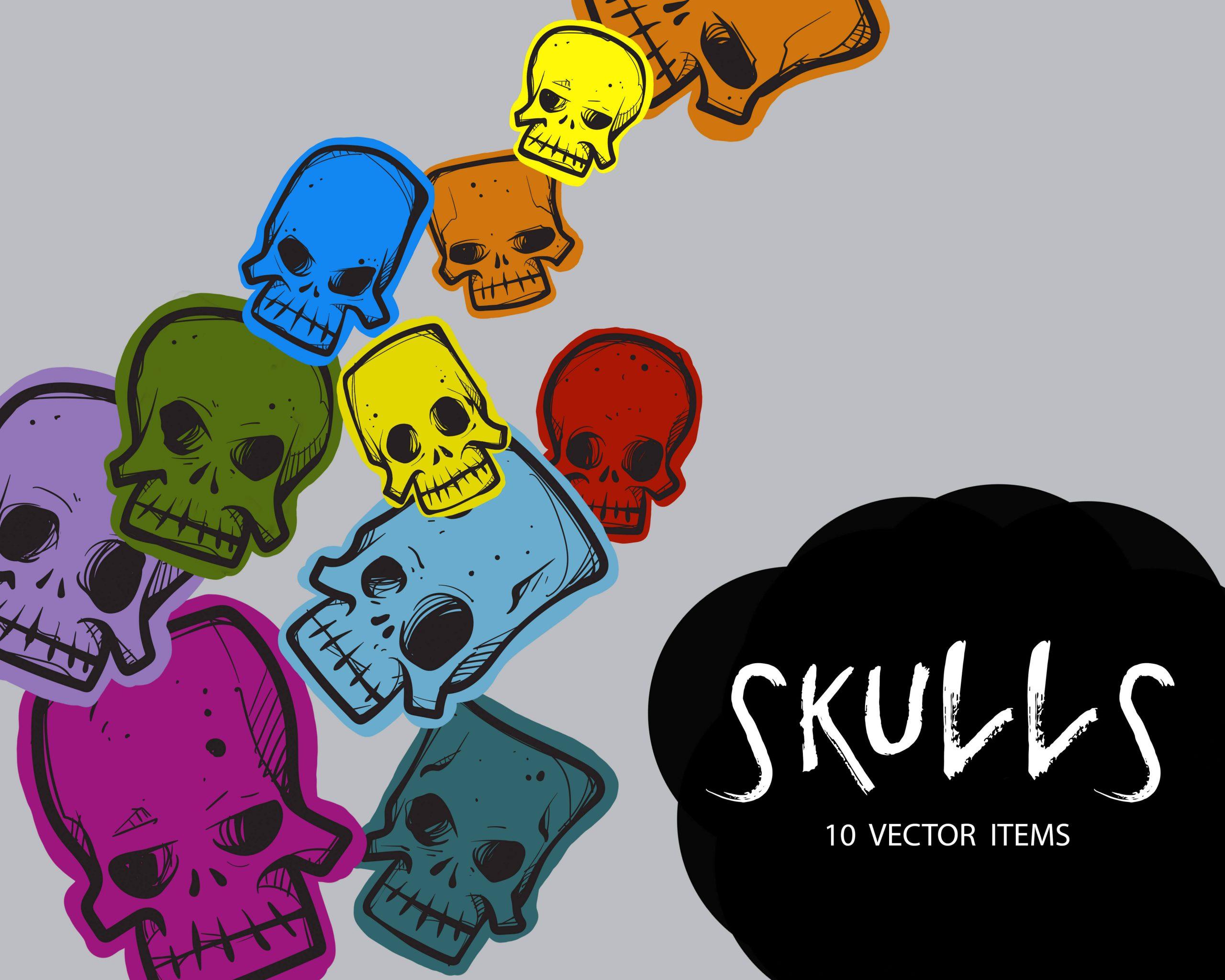 Spooky Vector Images - 10 Skulls Vectors