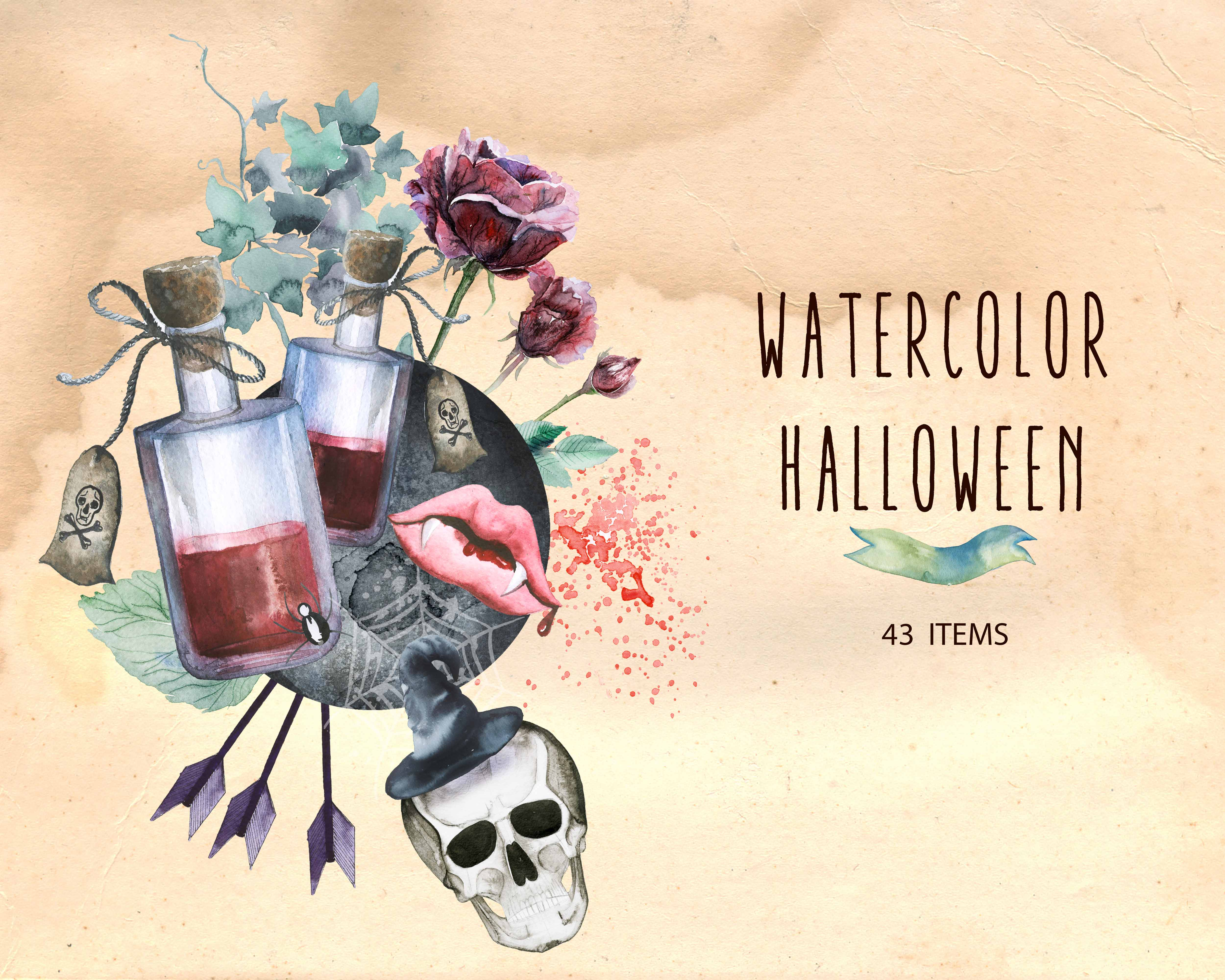 Spooky Vector Images - 43 Watercolor Halloween