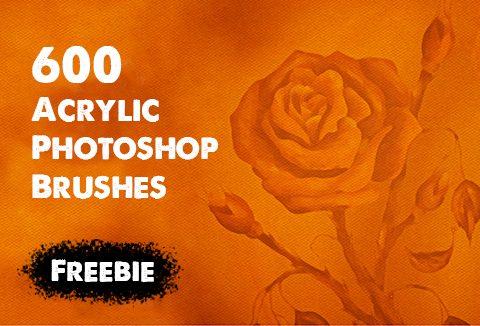 600 Acrylic Photoshop Brushes for FREE