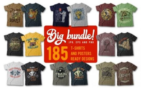 T-Shirt Design Bundle - One Of The Biggest On The Internet (185 Designs)