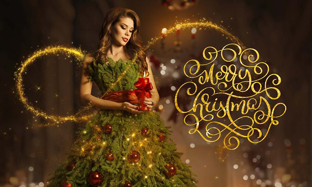 50 Photo & Text Overlays Bundle - Merry Christmas Girl
