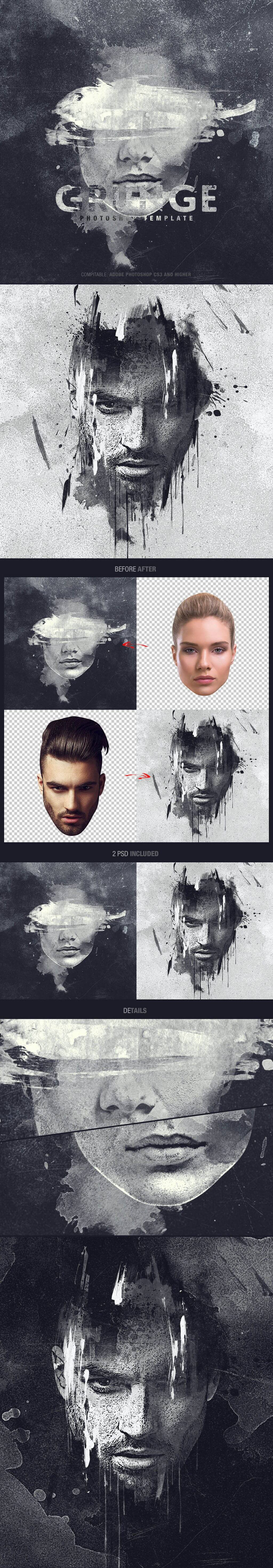 Grunge Artistic Photo Effects Photoshop Template
