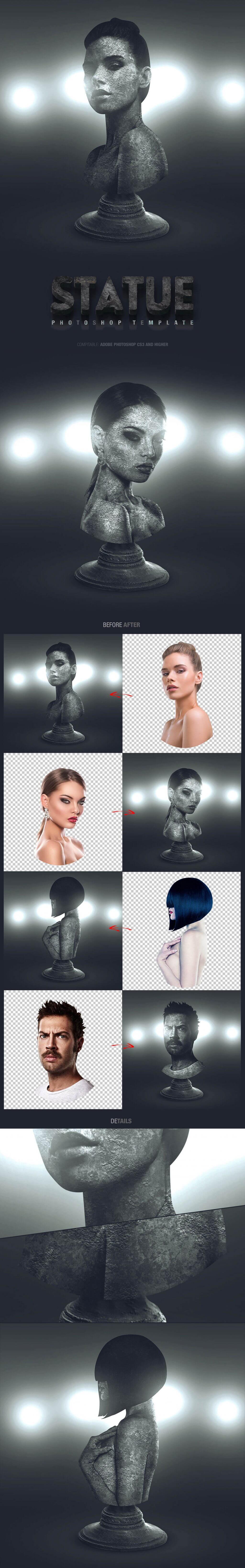Statue Photoshop Template Design