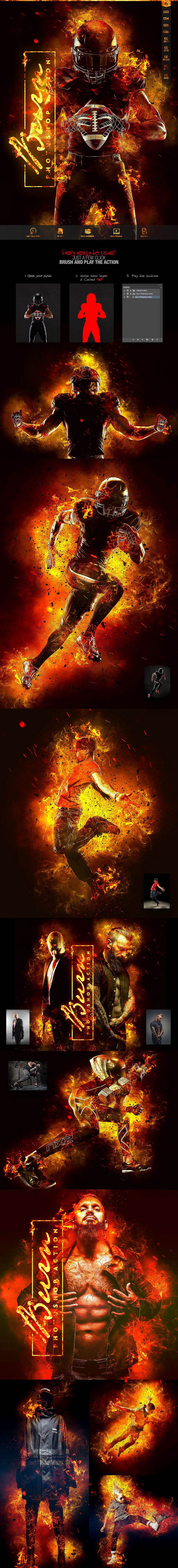 Burn Photoshop Action CS3 Design