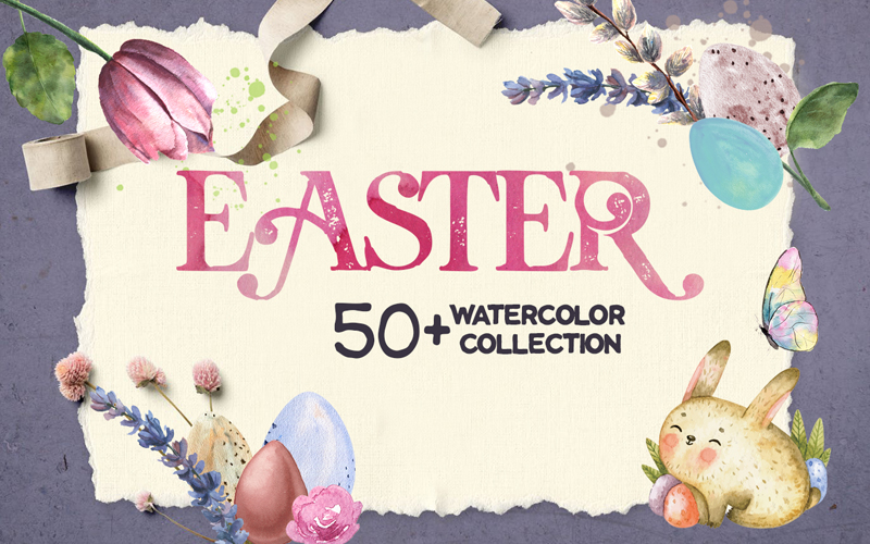 Delightful Easter Freebie Watercolor Collection - F.Image