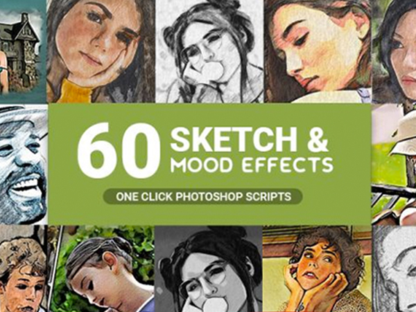 60 Pencil Sketch and Mood Effects Bundle Feature Image