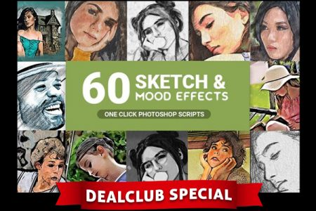 60 Pencil Photo Sketch & Mood Effects