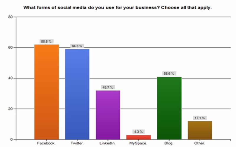 Graph showing use of Social Media for online brand promotion