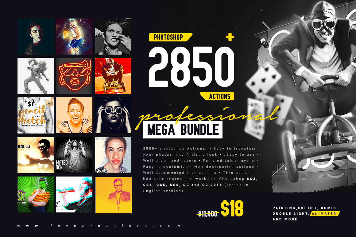 Mega Bundle Of 2850+ Professional Photoshop Actions - Main
