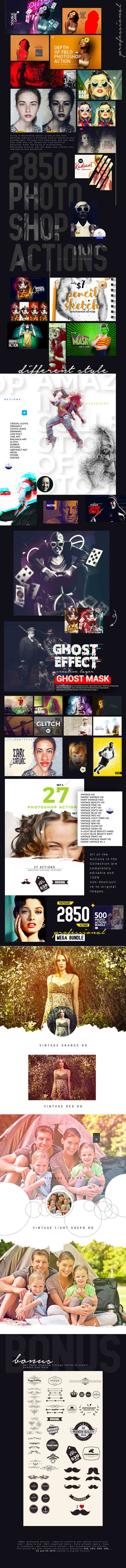 Mega Bundle Of 2850+ Professional Photoshop Actions - 2