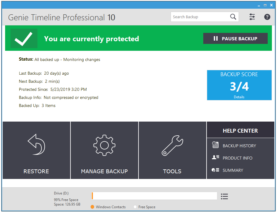 Genie Timeline 10 - A Professional Backup Solution For Windows| Lifetime - dashboard