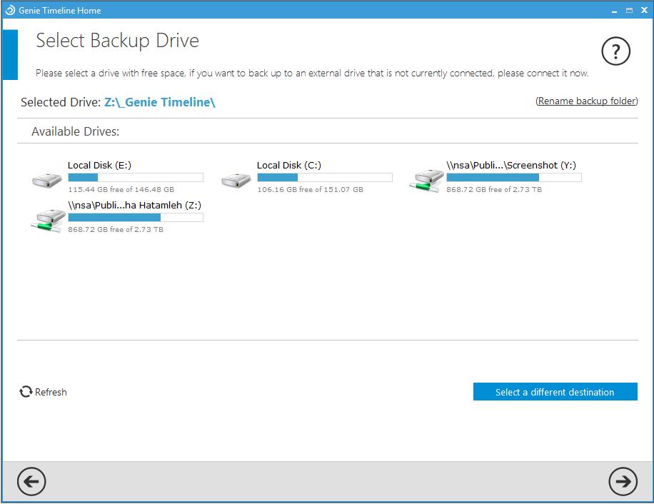 Select Backup Drive - Genie Timeline Home