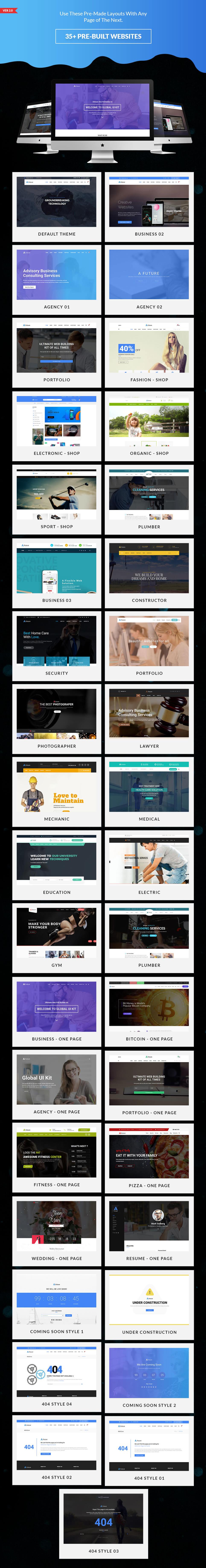 35 Premade Template Previews In Next Web Design Kit