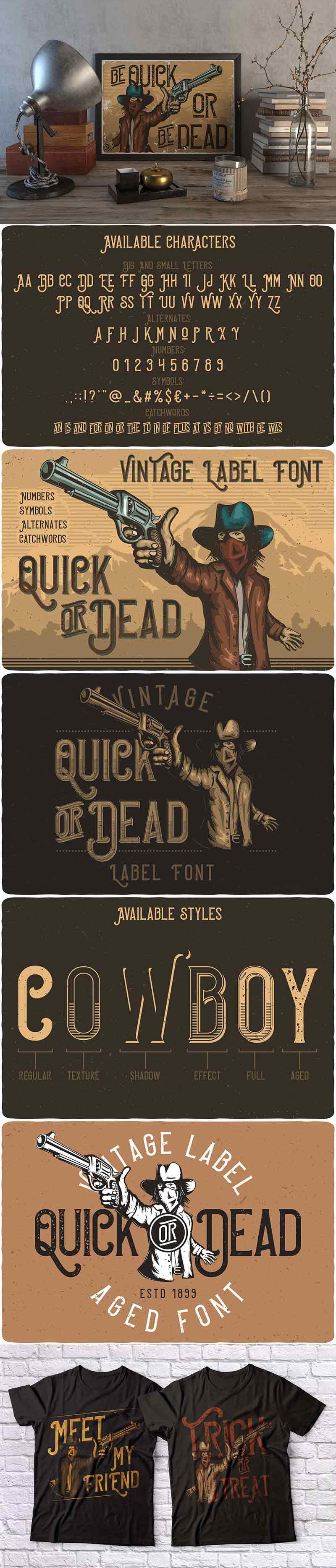 Big Bundle Of 47 Vintage Font Families - Quick_or_dead_preview