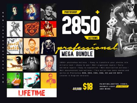 2850 PRO Photoshop Actions Mega Bundle