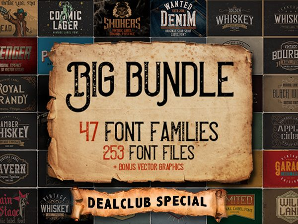 Big Bundle Of 47 Vintage Fonts Families
