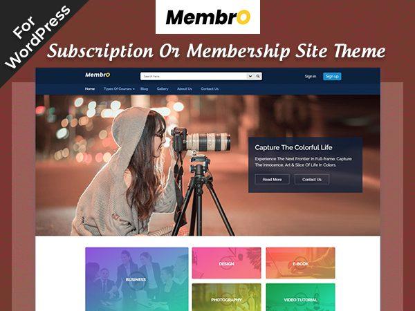 Membro Subscription Or Membership Site Theme For WordPress