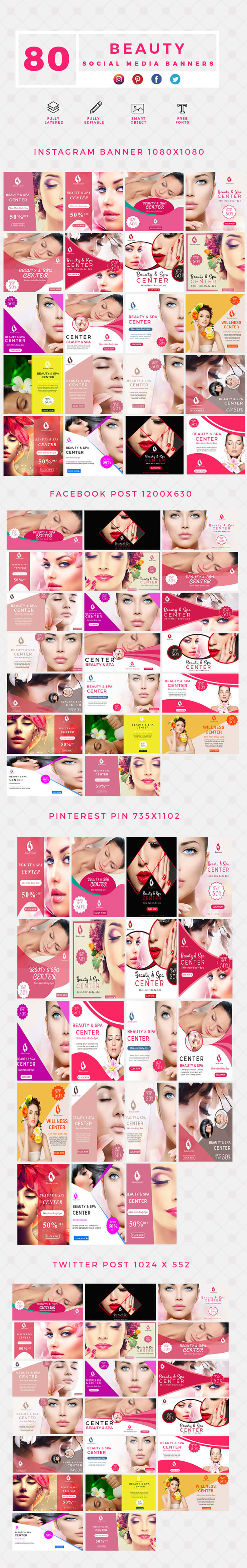 640 Social Media Banner Templates Bundle PREVIEW-BEAUTY