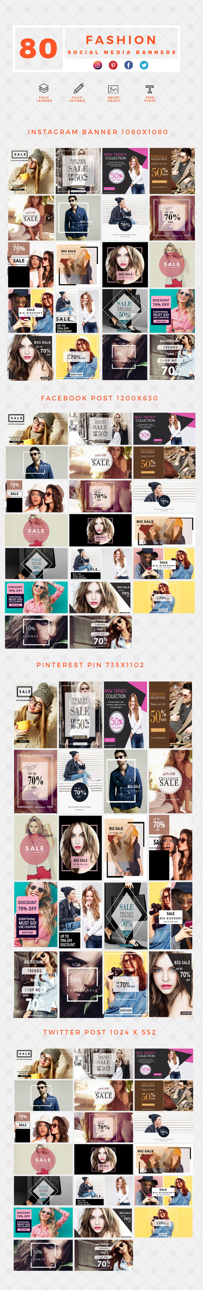 640 Social Media Banner Templates Bundle PREVIEW-FASHION